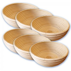 Bild zu Sechserpack Gärkörbchen rund 1000g, 215 mm Peddigrohrkörbchen